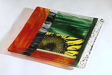 Serving up Sunflowers II by Alice Benvie Gebhart (Art Glass Tray)