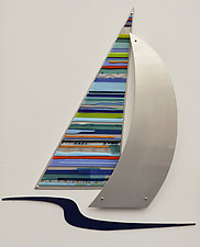 Close to Shore by Mary Johannessen (Art Glass & Metal Wall Sculpture)