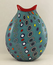 Turquoise Marrakesh Vase by Ken Hanson and Ingrid Hanson (Art Glass Vase)