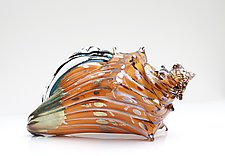 Orange and Gold Shell by Benjamin Silver (Art Glass Sculpture)
