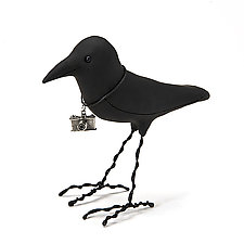 Tourist Crow by Kamilla White (Polymer Clay Sculpture)