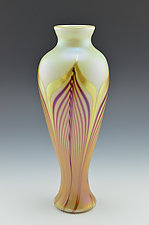 Private Collection White Vase by Donald  Carlson (Art Glass Vase)