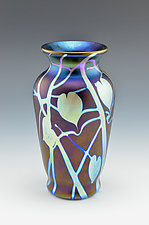 Private Collection Black Vase by Donald  Carlson (Art Glass Vase)
