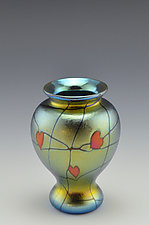 Miniature Private Collection Blue Vase by Donald  Carlson (Art Glass Vase)