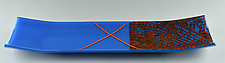 Orange on Blue ColorCentric Medium Tray by Terry Gomien (Art Glass Tray)