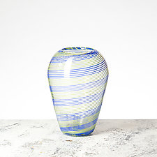 Cane Vase in Blue and Green by Aaron Baigelman (Art Glass Vase)