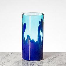 Palm Beach - Blue and Sea Blue by Aaron Baigelman (Art Glass Vase)