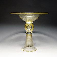 Gold Pedestal Bowl by Scott Summerfield (Art Glass Bowl)