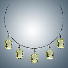 Lemon Quartz and Oxidized Sterling Silver by Judy Bliss (Silver & Stone Necklace)