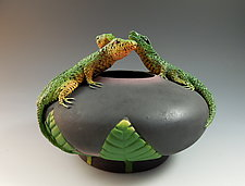 3 Lizard Bowl by Nancy Y. Adams (Ceramic Bowl)
