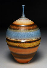 Banded Bottle by Nicholas Bernard (Ceramic Bottle)