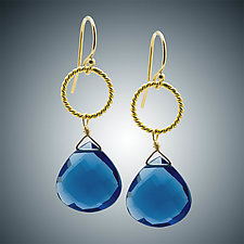 Blue Quartz Heart Earrings by Judy Bliss (Gold & Stone Earrings)