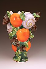 Vase with Oranges, Pinecones, and Moonsnails by Farraday Newsome (Ceramic Vase)