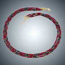 Ruby and Hematite Necklace by Judy Bliss (Gold, Silver & Stone Necklace)