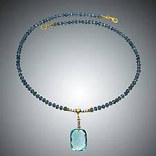 Blue Quartz and Aqua Quartz Necklace by Judy Bliss (Gold & Stone Necklace)