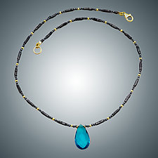 London Blue Quartz and Hematite Necklace by Judy Bliss (Gold & Stone Necklace)