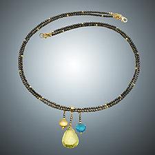Lemon Quartz, London Blue Quartz and Pyrite Necklace by Judy Bliss (Gold & Stone Necklace)