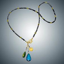 London Blue Quartz, Lemon Quartz and Vassonite Necklace by Judy Bliss (Gold & Stone Necklace)