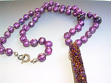 Purple Pearls, Amethyst & Druzy Necklace by Diana Lovett (Pearl Necklace)