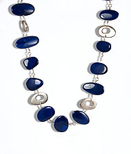 Lapis and Silver Shapes Necklace by Lori Gottlieb (Silver & Stone Necklace)