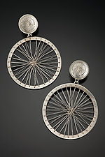 Double Circle Stitched Earrings in Bright Silver by Suzanne Schwartz (Silver Earrings)