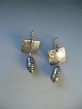 Embossed Sterling and Pearl Earrings by Diana Lovett (Silver & Pearl Earrings)