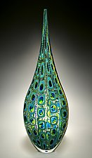 Aqua/Lime Resistenza by David Patchen (Art Glass Sculpture)