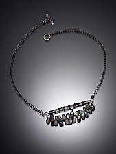 Crocheted Bar Pendant with Labradorite by Randi Chervitz (Silver & Stone Necklace)
