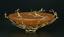 Nesting Bird Bowl by Georgia Pozycinski and Joseph Pozycinski (Art Glass & Bronze Sculpture)