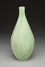 Celadon Three-Spiral Bud Vase by Lynne Meade (Ceramic Vase)