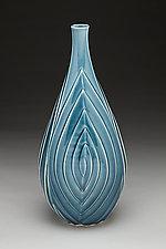 Blue Spiral Vase by Lynne Meade (Ceramic Vase)