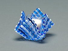 Glass Candleholder: Blue Stripe by Ed Edwards (Art Glass Candleholder)