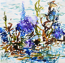 Blue-Purple Flowers by Stephen Yates (Acrylic Painting)