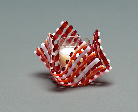 Glass Candleholder: Red Stripe