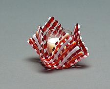 Glass Candleholder: Red Stripe by Ed Edwards (Art Glass Candleholder)