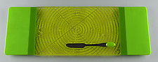 Medium Simple Green ColorCentric Serving Plank by Terry Gomien (Art Glass Tray)