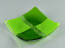 Green Checker Candy Dish by Terry Gomien (Art Glass Candy Dish)