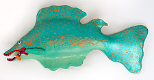 Orange-Tongued Twizzle Fish by Byron Williamson (Ceramic Wall Sculpture)