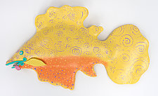 Lemon Fiesta Fish by Byron Williamson (Ceramic Wall Sculpture)