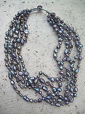 Peacock Blue--5 strands by Diana Lovett (Beaded Necklace)