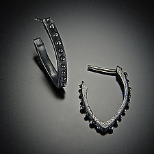 Bumpy V Hoop Earring by Dahlia Kanner (Silver Earrings)