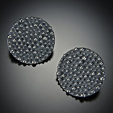 Bumpy Disk Earrings by Dahlia Kanner (Silver Earrings)