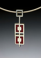 Divided Rectangles Necklace by Ben Neubauer (Silver & Resin Necklace)