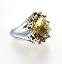 Champagne Quartz Garland Ring by Ellen Himic (Silver & Stone Ring)
