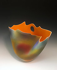 Airbrushed Folded Tall Vase with Flame Orange Interior by Jean Elton (Ceramic Vase)
