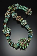 Turquoise and Gold Patina Necklace by Julie Powell (Beaded Necklace)