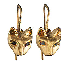 Playing Cats Earrings with Black Diamond by Natalie Frigo (Gold & Stone Earrings)