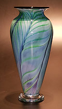 Feathered Purple/Green Blue by The Glass Forge (Art Glass Vase)