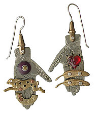 Collage Hand Earrings by Thomas Mann (Metal Earrings)