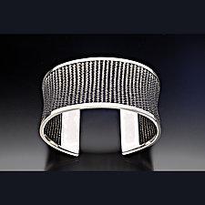 Oxidized Woven Cuff Bracelet by Linda Bernasconi (Silver Bracelet)